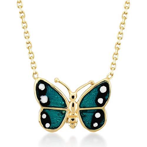 Gelin Goldkette Damen 14 Karat / 585 Gelbgold mit Anhänger Schmetterling, Kettegröße 45cm
