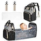 Mum & Cub Baby Diaper Bags with Changing Station, Large Capacity Baby Diaper Backpack with Bed, Baby Portable Bed Diaper Bag Backpack with Extendable Folding Cribs and Straps for Parents, Black & Grey