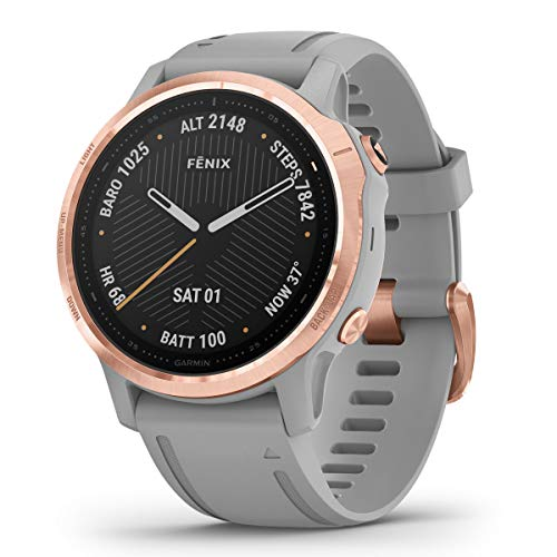 Garmin Fenix 6S Sapphire Multisport GPS Watch, Rose Gold-Tone with Powder Grey Band