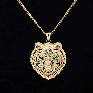 Best Quality - Pendant Necklaces - Men Hiphop iced Out Bling Tiger Pendant Necklaces CZ AAA Zircon 100% Copper Fashion Animal Shape Necklace Men Hip hop Jewelry - by SeedWorld - 1 PCs