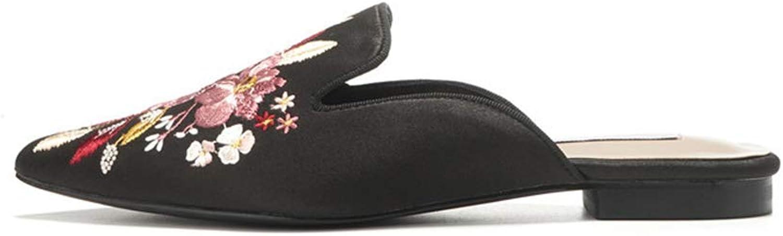 Women's Speed Slip on Stylish Embroidery Flat Floral Print Espadrilles Fancy Mule