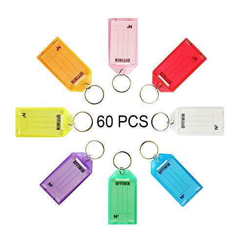 OFFIWIN 60 PCS Plastic Key Tags Keys Identifier ID Labels with Split Ring Label Window, Assorted Colors in one PET Jar