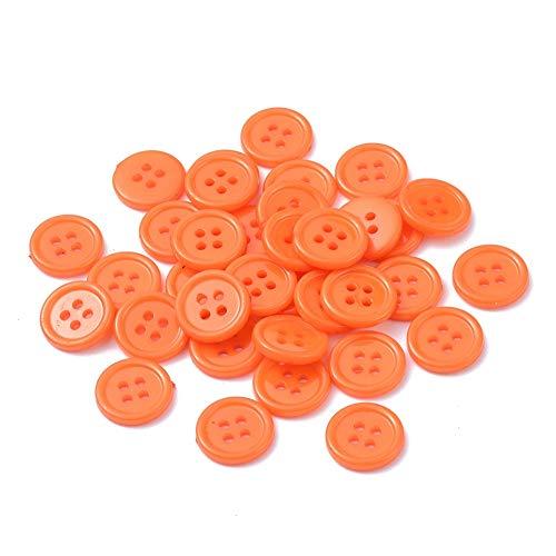 SiAura Material - 100 bottoni rotondi in acrilico da 15 mm, in plastica, colorati, arancione scuro, 4 fori, per cucito, bricolage e decorazione
