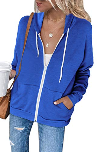 Hoodie Jacket Women 2020 Fashion Pocketed Outerwear Solid Color Zipper Active Sweatshirt Tops for Leggings Blue M