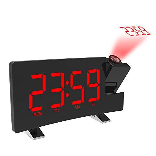 FPRW Digitale radiografische wekkerradio, FM-radio, snooze timer LED-display, gebogen klokken USB met groot gebogen display, rood