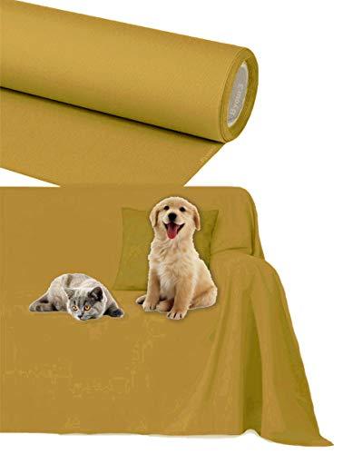 Byour3 Funda de sofá Impermeable - protección para Sofás por Mascotas Niños Protector hidrófugo en Algodon Antimanchas Antideslizante para Pelo Gatos Perros (Mostaza, 3/4 plazas 400x300cm)