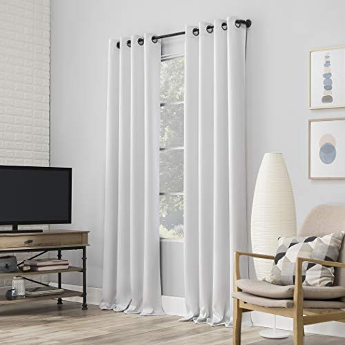 """Sun Zero Nordic 2-pack Theater Grade Extreme 100% Blackout Grommet Curtain Panel Pair, 52"""" x 84"""", Pearl"""