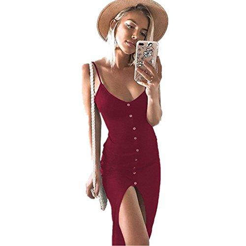 Kleid Damen Kolylong® Frauen Reizvoller V-Ausschnitt Ärmelloses Kleid Lang Elegant Split Maxi Kleid Stretch Strandkleid Cocktail Bodycon Partykleid Abendkleid Shirt Tops (S, Rot)