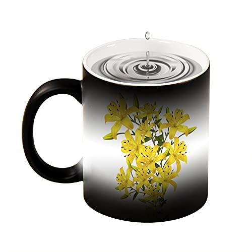 Taza mágica con diseño de flores amarillas y flores, taza de café creativa, taza de té de color negro, blanco, oficina y hogar, apto para lavavajillas y microondas, 330 ml