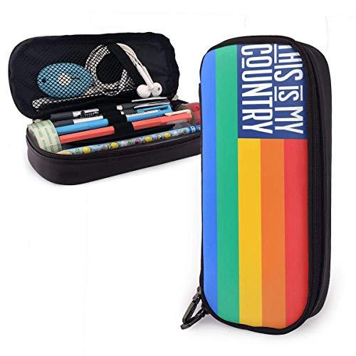 Bolsa de Lápiz,Estuche de lápices de Gran Capacidad Estuche Escolar de Gran Capacidad Bandera del arco iris y el lema de este es mi país