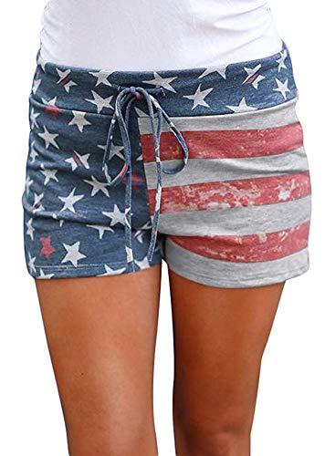 July 4th Womens Stars Striped American Flag Summer Cotton Beach Shorts with Drawstring Patriotic USA XL