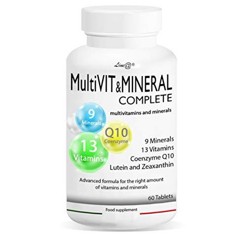 MultiVIT & MINERAL COMPLETE | 60 compresse | MULTIVITAMINICO | 14 vitamine | 9 minerali | con coenzima Q10 e acido folico | scorta per 1 mese | PRODOTTO ITALIANO