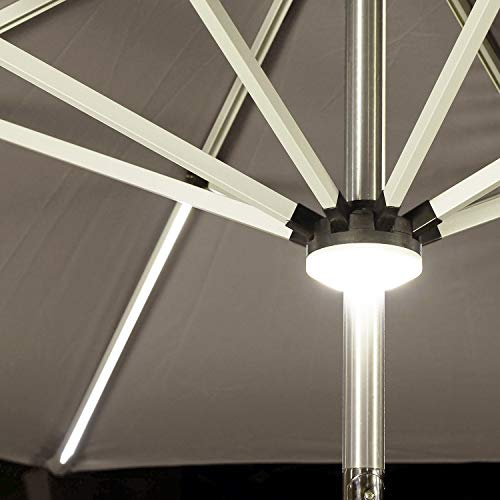 PURPLE LEAF 9 Feet Solar Powered LED Lighted Patio Umbrella with Push Button Tilt and Crank Outdoor Market Umbrella Garden Umbrella, Khaki