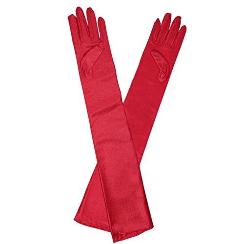 Sexy lange Satinhandschuhe Abendhandschuhe Handschuhe Party Hochzeit - Rot, One Size