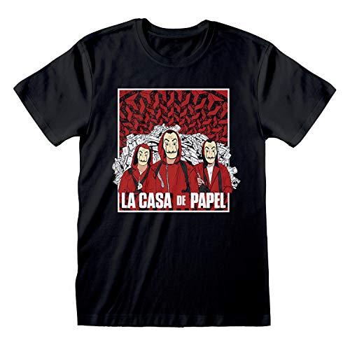 La Casa De Papel Dinero Heist Grupo Boceto Novio Camiseta Apta de Las Mujeres Negro S