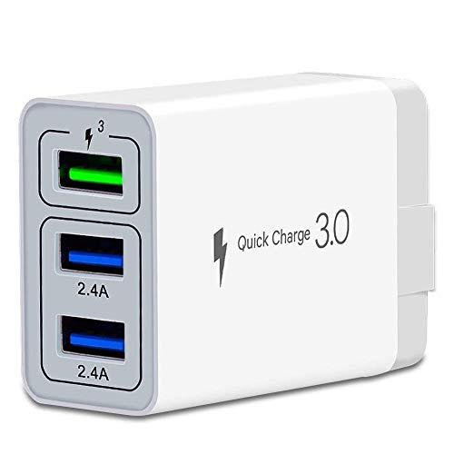 Schnellladegerät, QC 3.0 USB-Schnellladegerät, 3 Anschlüsse, Tablet, iPad, Handy, Schnellladegerät, Adapter, Schnellladegerät, 3.0, Reisestecker, kompatibel mit Samsung, HTC, iPhone mehr, 1 Stück, Weiß