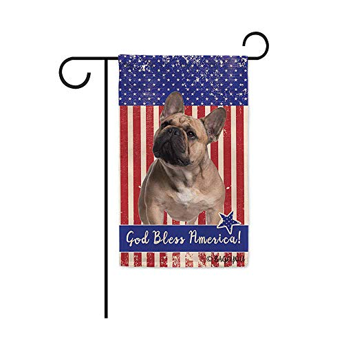 BAGEYOU God Bless American with My Love Dog Frenchie Patriotic Decorative Garden Flag for Outside 4Th of July Decor Banner 12.5x18 inch Printed Double Sided