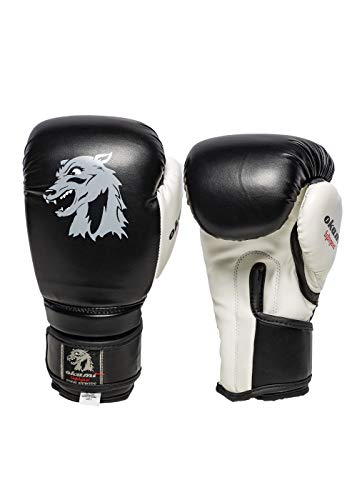 OKAMI Fightgear Kinder Kids DX Boxing Gloves 2.0 Boxhandschuh, schwarz/Weiß, 8oz