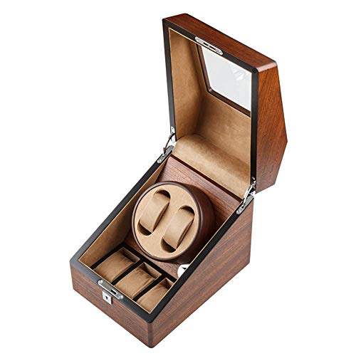 Caja de bobinado automático de madera para relojes, Dispositivo giratorio de mesa oscilante de reloj mecánico, Caja de almacenamiento de joyería de reloj Motor silencioso antimagnético, Dispositivo de