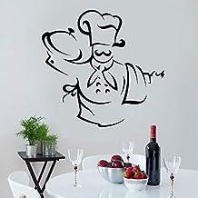 wZUN Chef Hut Schürze Appetit Küche Wandaufkleber Restaurant Dekoration Abziehbilder abnehmbare Wandtapete 66X63cm