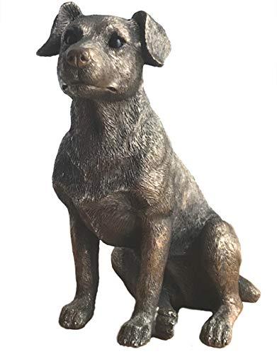 Animal Crackers Tier-Knallbonbons, Bronzefigur, Jack Russel-Terrier, in Geschenkbox