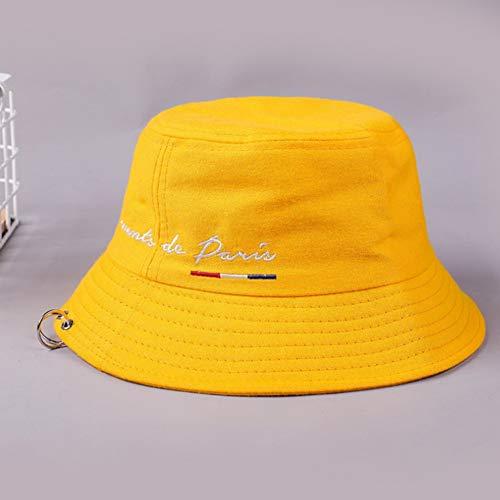 JIACHIHH Sombrero De Pescador Algodón,Carta Bordado Cuchara Sombrero Amarillo Unisex Anillo De Hierro Sunscreen Casual Parasol Plegable Sombrero Pescador Hat