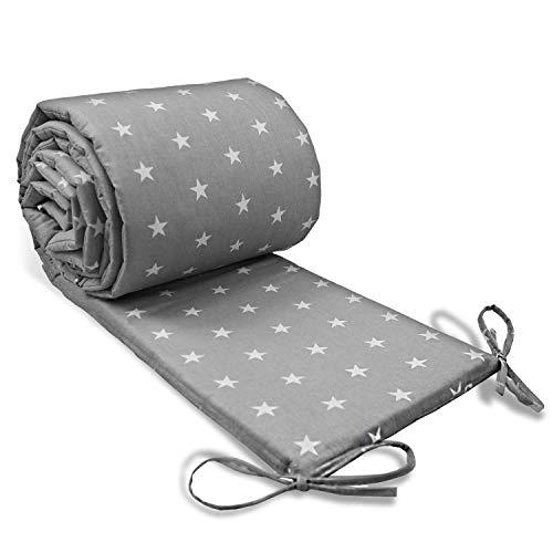 Paracolpi lettino 4 lati imbottito - paracolpi Culla neonato per Letto Bebè in cotone Grigio con stelle bianche 180 cm