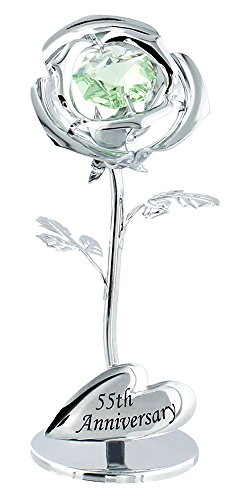 Haysoms Modern 55th Anniversary Silver Plated Flower with Green Swarovski Crystal Glass
