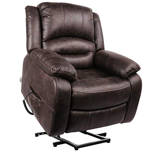POMOHOME Electric Power Lift Recliner Chair Sofa, Lift Chair Recliner for Elderly with Soft Breathable Fabric, Side Pockets, USB Ports, Max Load 360 lbs (Brown)