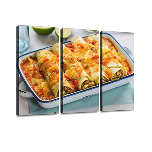 HABEN ARTWORK Beef Enchiladas with Tomato Sauce and Cheese Print On Canvas Wall Artwork Modern Photography Home Decor Unique Pattern Stretched and Framed 3 Piece