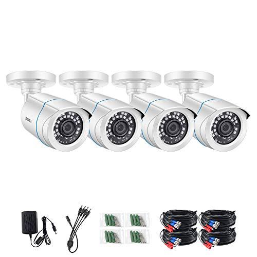 ZOSI 4X 1080p HD Außen Überwachungskamera Bullet Kamera Set mit Kabel und Netzteil, Weiß, Für AHD, CVI, TVI 1080P und 960H CCTV DVR Sicherheitssystem