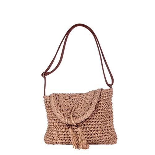 Angkorly - handtas schoudertassen shopper tas mini crossbody tas dode tas met stro-pompon mand flexibele bohemen romantisch voor elke dag dames trendy tas elegant cadeau-idee