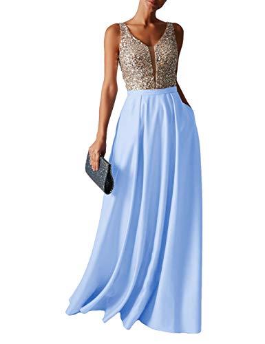 HUINI Abendkleid Lang Damen Ballkleider Hochzeitskleid Vintage Glitzer Cocktail Partykleider Brautkleider Hellblau54