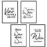 4 Stück - Poster Bild DIN A4 - Zu Vino sag ich nie no -