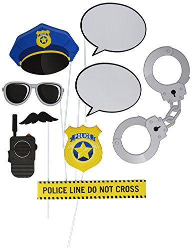 Creative Converting Police Party 10-Piece Photo Booth Prop Kit, One Size