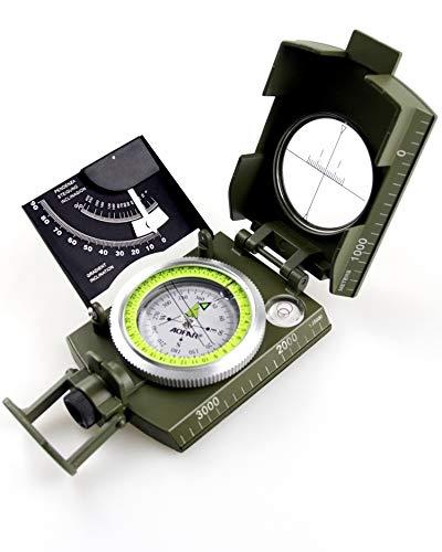 AOFAR Bussola Precisa Esercito Militare Clinometro Metallo Disegno Luce Fluorescente con Borsetta Portatile per Caccia Geologia Campeggio Escursione
