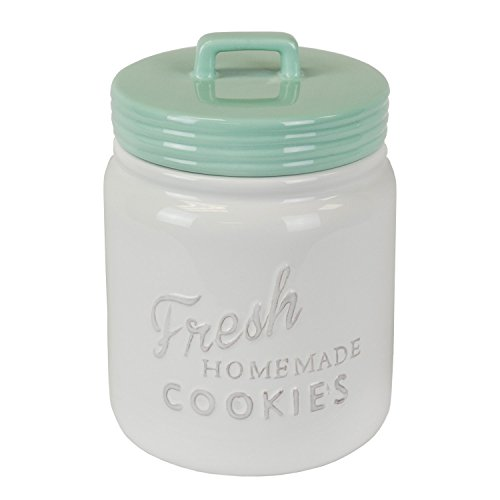 DII CAMZ35653 Vintage, Retro, Farmhouse Chic Mason Jar Inspired Ceramic Kitchen Canister, Cookie Jar With Airtight Lid For Food Storage, Store Cookies, Crackers, Chips and More - Aqua