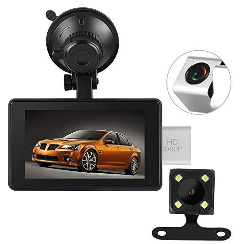 Registratore per auto, gps per auto 170 ° Telecamera grandangolare per videosorveglianza elettronica con HD 1080P Doppio obiettivo, 4'HD DVR, G-Sensor