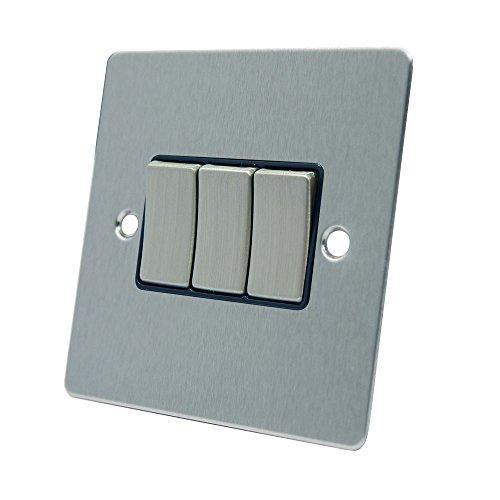 AET FSC3GSWIBS Satin Chrome Flat Black Insert Metal Rocker Switches-10 Amp Triple 3-Gang 2 Way Light Switch