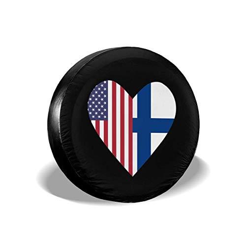 WCHAO La Mitad de la Bandera de Finlandia La Mitad de la Bandera de los Estados Unidos Amor Corazón Cubiertas de neumáticos Ajuste Universal