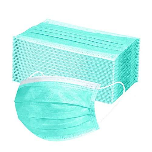 50 Stück Schwarz/Rosa/Weiß Einmal-Mundschutz Mundbedeckung Erwachsene 3-lagig Atmungsaktiv Einweg Mund und Nasenschutz Atmungsaktive Gesichtsschutz Bandana Bedeckung Halstuch (Grün-1)