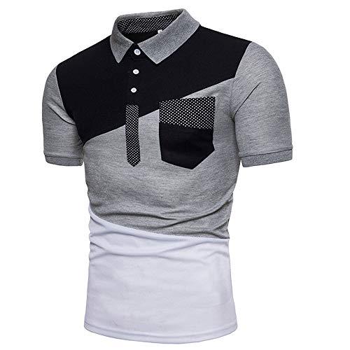 Poloshirt Herren Patchwork Polohemd Mit Taschen Herren Sport atmungsaktiv Kurzarmshirts Basic Slim Fit T-Shirt Männer Kurzarm Polo-Shirt Poloshirts Sweatshirt T-Shirt XXL