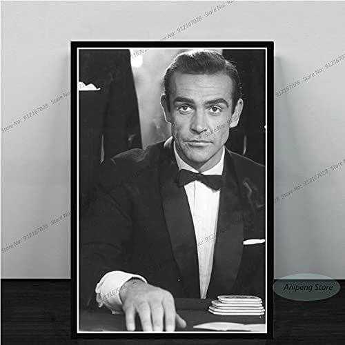 meishaonv Sean Connery Attore di Film James Bond 007 with Guns Poster Art Canvas Painting Picture for Living Room Home Decor A1548 50 × 70 CM Senza Cornice