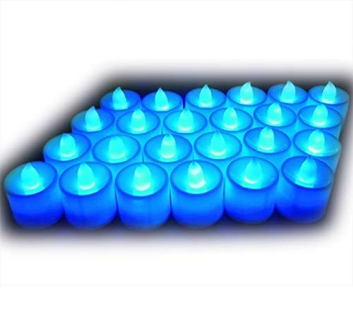 Lot de 24pcs Bougies LED à Piles sans Flamme, Réaliste et Bright, LED Lumières de Thé - Fausses Bougies électriques pour Votive, Table Party Anniversaire Mariage Noël Arbre de noël Bleu