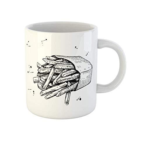 Taza de café Sketch Vintage Fritas Papas Dibujo Monocromo Comida Rápida Gran Taza de Té de Cerámica de 11 Oz Mejor Regalo o Recuerdo para Familiares Amigos Coworkers