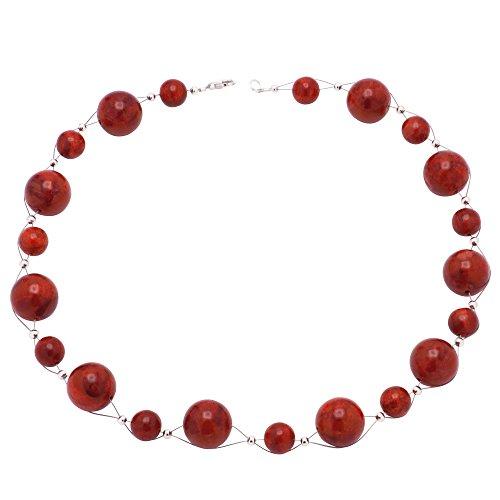 Kette Collier aus Koralle Schaumkoralle rot Korallenkette Halsschmuck Damen