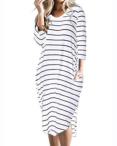 CNFIO Women T Shirt Dress Oversized Stripes 3/4 Short Sleeves Dresses with Pockets White Large
