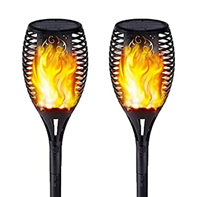 Solar Lights Outdoor - Flickering Flames Torch Lights Solar Light - Waterproof Dancing Flame Lighting 96 LED Dusk to Dawn Decoration for Landscape Garden Pathway Yard Lawn (2 Pack)