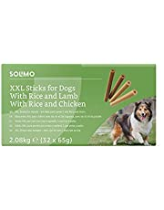 Marca Amazon - Solimo - Treats para perros: pollo y cordero, stick dentales sin aromatizantes artificiales (32 piezas x 65 gr)