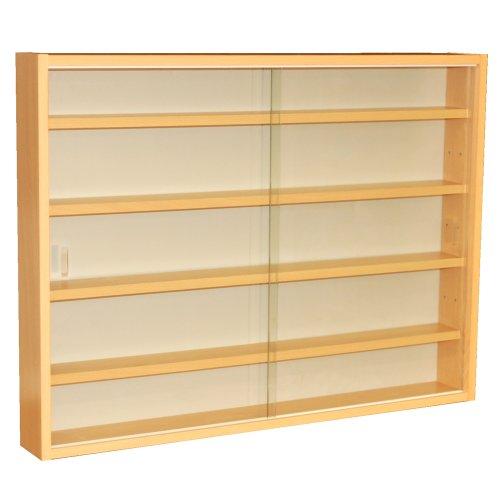 WATSONS REVEAL - 4 Shelf Glass Wall Collectors Display Cabinet - Beech